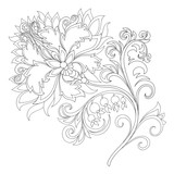 vector contour of fantasy flower with ornaments - 237124827