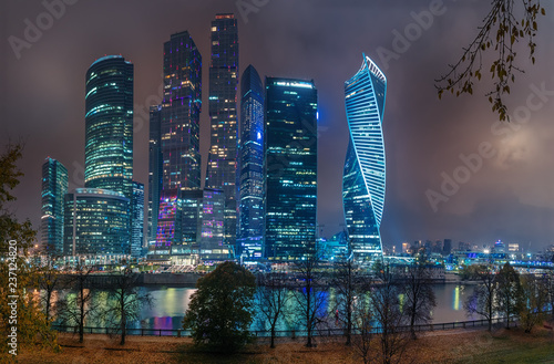 Moscow - October 21, 2018: Night view of the International Business Center