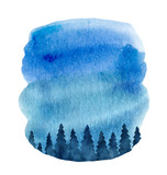 Watercolor vector background with fir trees and blue sky. - 237132667