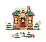 Watercolor vector greeting card with Christmas house and green fir trees. - 237132888