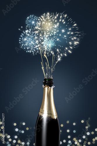 Sektflasche mit Feuerwerk © photoschmidt