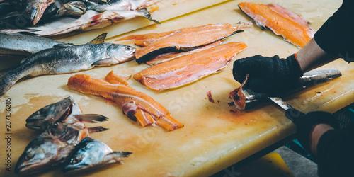 Leinwandbild Motiv fish factory process