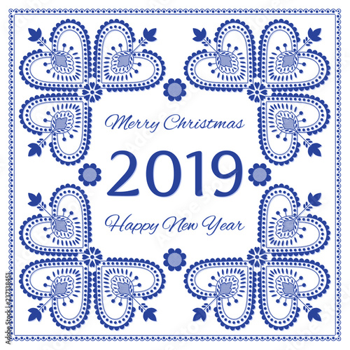 Nordic folk art season card vector template. Merry Christmas and Happy New Year 2019 background. Scandinavian style design for banner, poster, greeting card, gift tags.
