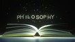 PHILOSOPHY text made of glowing letters vaporizing from open book. 3D animation