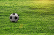 Conceptual football ball on sunny soccer grass field.