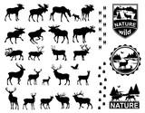 Set of Horned Animals Silhouette Collection Deer Stag Moose Cervidae Elk