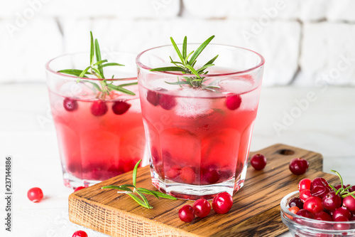 Leinwandbild Motiv Cocktail with cranberry, vodka, rosemary and ice.