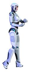 3D Rendering Female Robot on White © photosvac