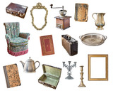 Set old items isolated on white background. Suitcase, chair, picture frames, books, coffee grinder, candlesticks, kettle, jug, tray. - 237147024