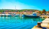 Boats in the port of Palau province of Sassari in the Italian region Sardinia, Italy.