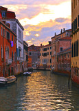 Venice colorful corners on sunset with  old buildings and architecture, boats and beautiful water reflections, Italy