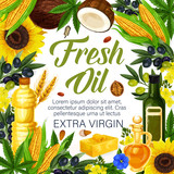 Herbs, extra virgin oils of organic plants, poster - 237158258