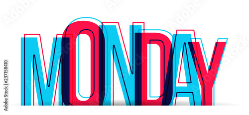 Monday word vector isolated on white background