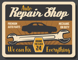 Repair shop retro poster with wrench and vehicle