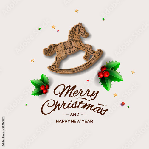 Minimalist style Christmas greeting card with wooden rocking horse, vector illustration. - 237163011
