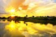 Leinwanddruck Bild - sunset over lake