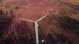 A metal wind turbine, top view. Wind power technology concept. - 237170036