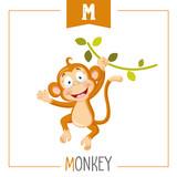 Vector Illustration Of Alphabet Letter M And Monkey