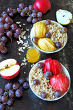 Breakfast bowl of oatmeal and fruit
