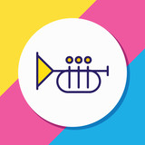 Vector illustration of trumpet icon colored line. Beautiful activities element also can be used as bugle icon element. - 237182679