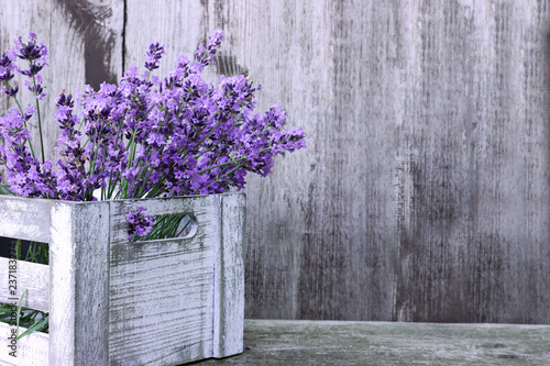Lavender flowers  in box on wooden background  - 237183274