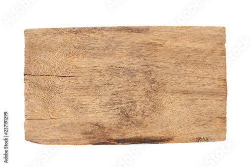 Old wood  plank  isolated on white background - 237191299