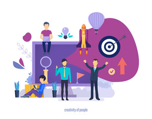 Creativity of people. Creative ideas, business start-up projects. © Idey
