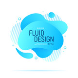 Fluid Design. Modern blue liquid abstract geometric shapes. Futuristic trendy dynamic elements. Abstract gradient shapes. Vector illustration. - 237201492