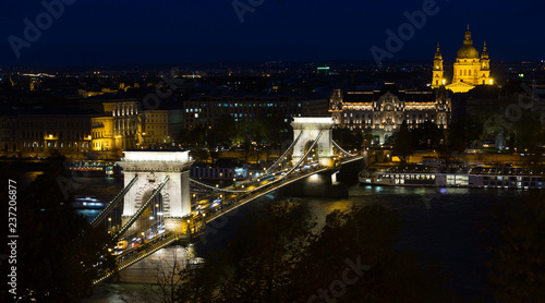 Chain Bridge and St.Stephen Basilica at night - 237206877