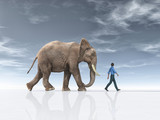 The man goes together with a big elephant