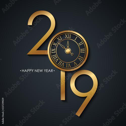 2019 Nowy Rok świętować kartę z pozdrowieniami świąt Szczęśliwego nowego roku i złoty kolorowy nowy rok tarczy na czarnym tle. Ilustracji wektorowych.