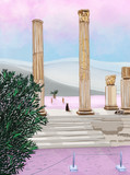 Greek dogs in the archeological zone. Hadrian's Library, Athens.Colored illustration with violet popular color.