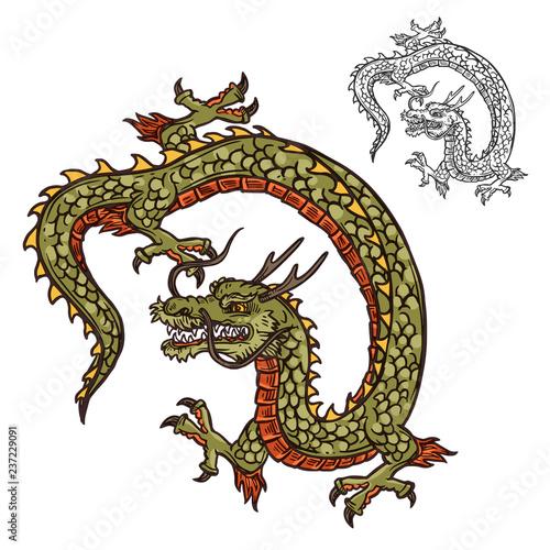 Japanese dragon tattoo design or religion mascot