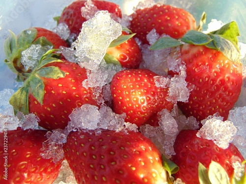 strawberries in ice. abstract-secret desire, undercover passion. - 237229414
