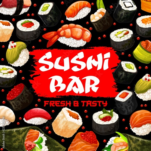 Sushi bar poster with Japanese cuisine of seafood