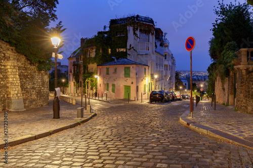 fototapeta na ścianę Paris. Old street on the Montmartre hill.