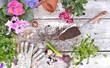 Quadro springtime flowerpot held by hands of gardener above a garden table