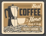 Coffee machine and beans or cup cafe retro poster