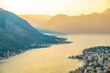 aerial view of kotor town on sunset - 237239853