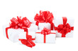 Gift boxes with ribbon isolated on white background