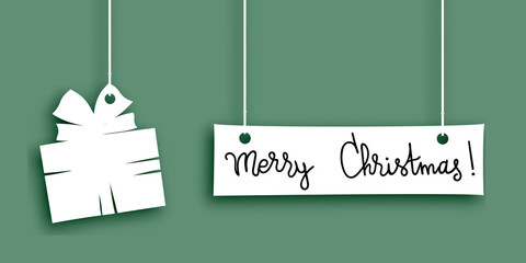 Merry christmas words and fir made of paper label, vector