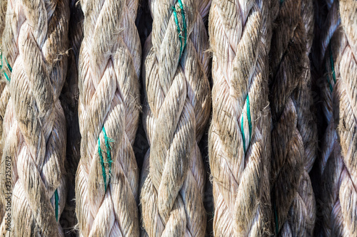 Texture of an old used mooring lines.