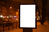 city outdoor billboard mockup Glows in the darkness of the night city winter.