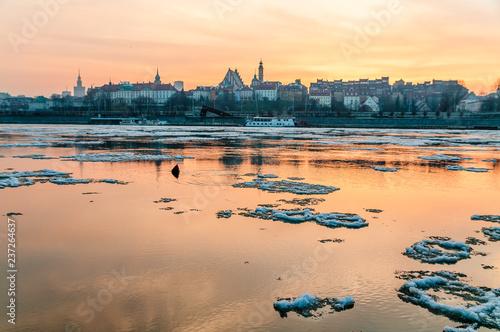 Warsaw, Poland. Views of capital of Poland et evening over Vistula river prom Praga side of the river.