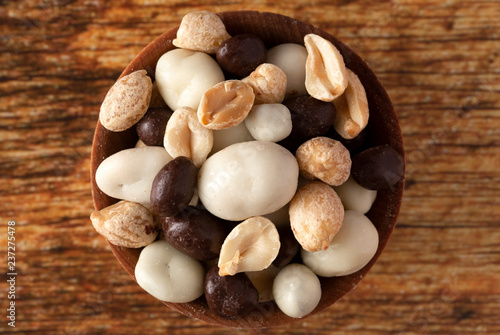 Foto Murales Wooden Bowl Filled with Healthy Trail Mix