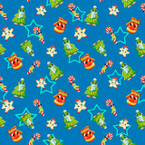 Christmas seamless pattern with star, lollipop, mitten, Christmas tree