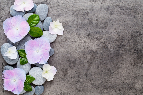 Spa flowers and massage stone, on grey background. - 237280085