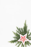Christmas composition. Christmas decorations on white background. Flat lay, top view.