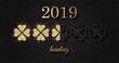 2019 loading Neujahr Silvester Karte mit Gold Glitzer Klee - 237300631