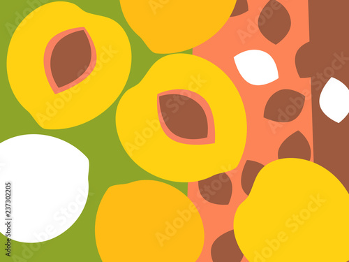 Abstract fruit design in flat cut out style. Peaches and peach pits. Vector illustration. - 237302205
